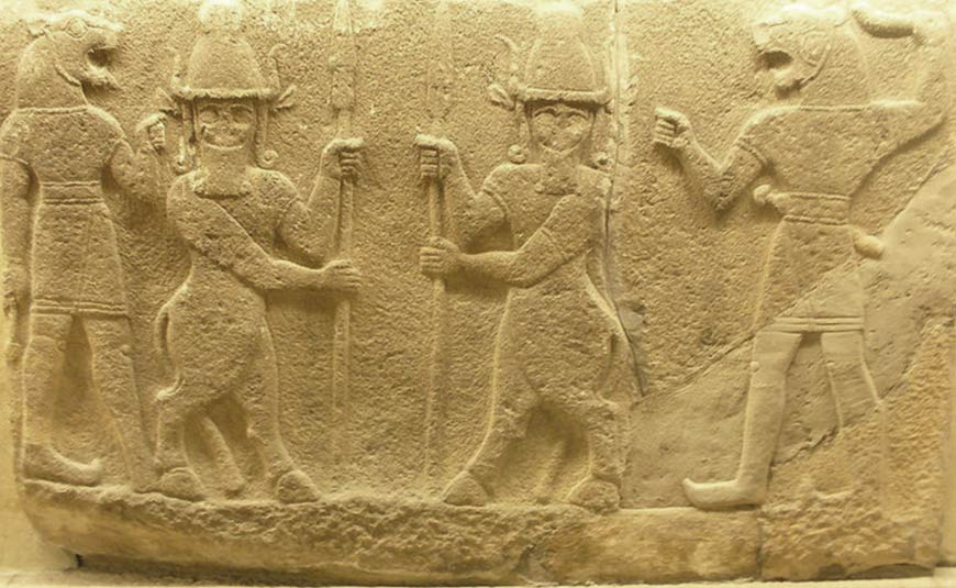 Hittite relief from ancient Carchemish depicting Kusarikku