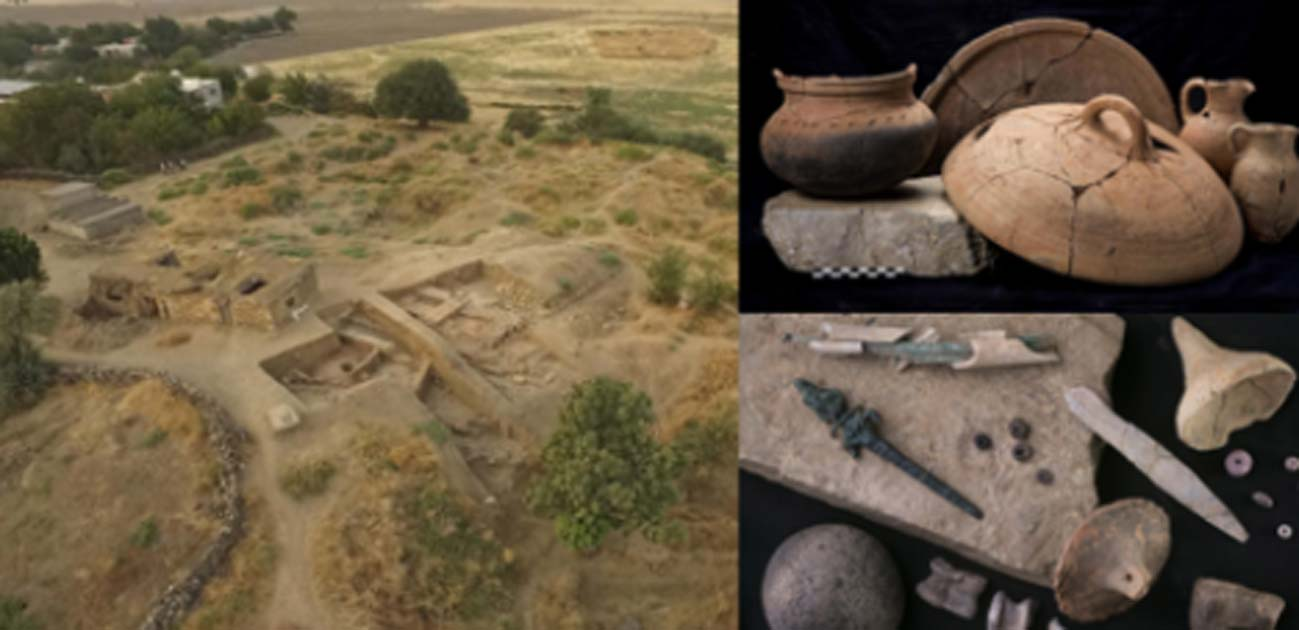 Left: The excavation site at Zincirli, southern Turkey. (Lucas Stephens)Top Right: Baking and cooking pots and trays found at Zincirli, including a ceramic pot with soot still left on the bottom from when it was last used (left). Bottom Right: Items found at Zincirli include bronze needles stored in a bone case (top left), a bronze figurine of a goddess (left), and animal knucklebones often used as dice (bottom). (Roberto Ceccacci)