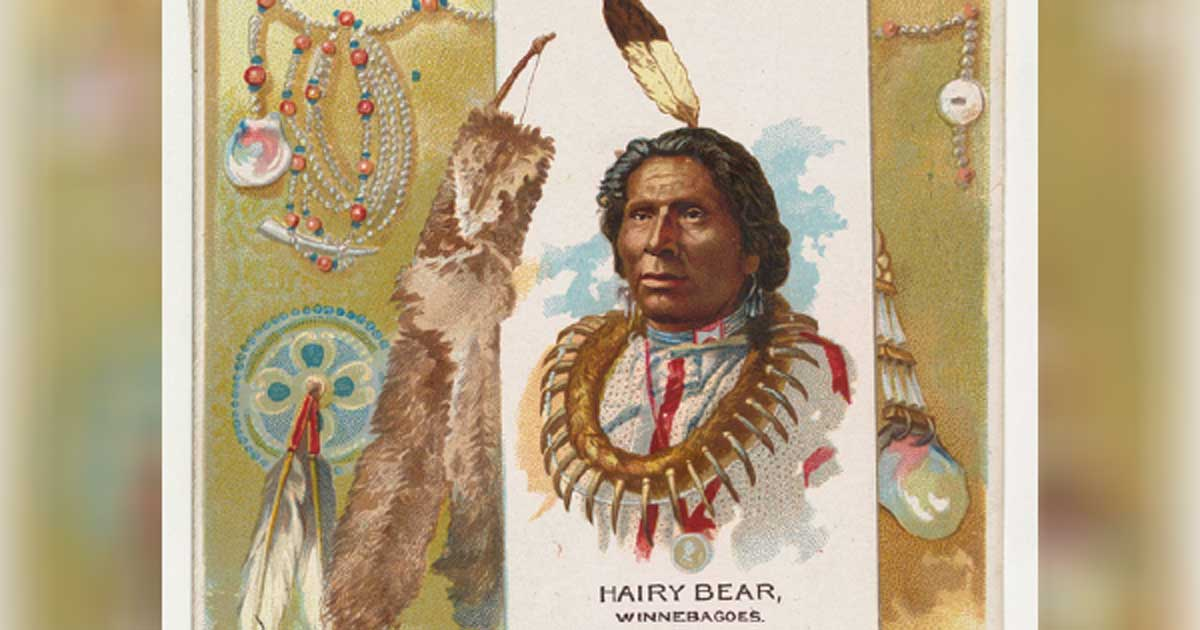 A lithograph of Ho-Chunk chief Hairy Bear for a cigarette ad, 1888. Source: Metropolitan Museum of Art