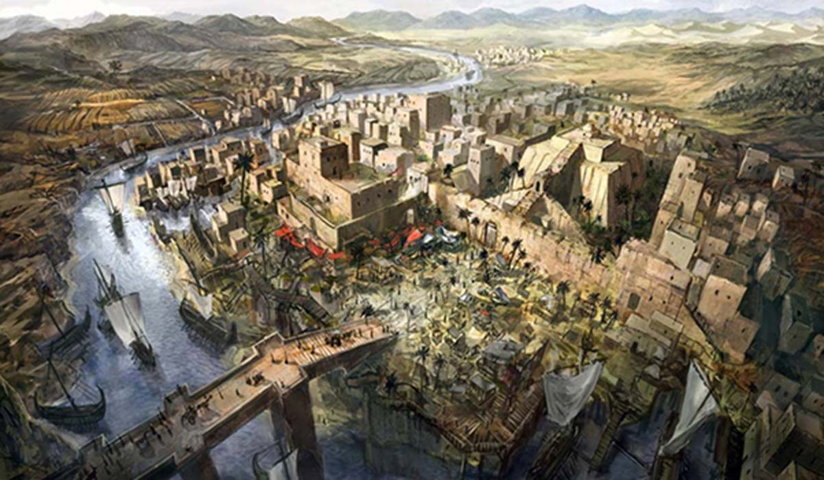 Illustration of an ancient city in Mesopotamia.