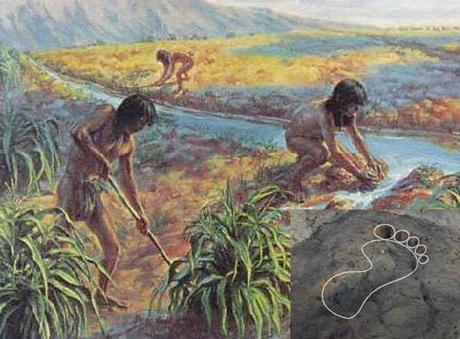 Hohokam people working in gardens with irrigation canals. Outline showing one of the footprints found at the site in Tucson, Arizona.