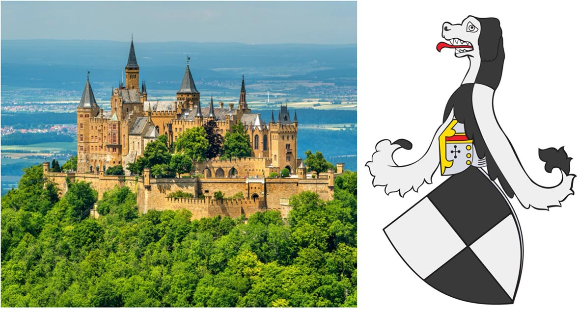 Left: Hohenzollern Castle in the Swabian Alps - Baden-Wurttemberg, Germany. (Leonid Andronov / Adobe stock). Right: Crest of the House of Hohenzollern. (Public domain)