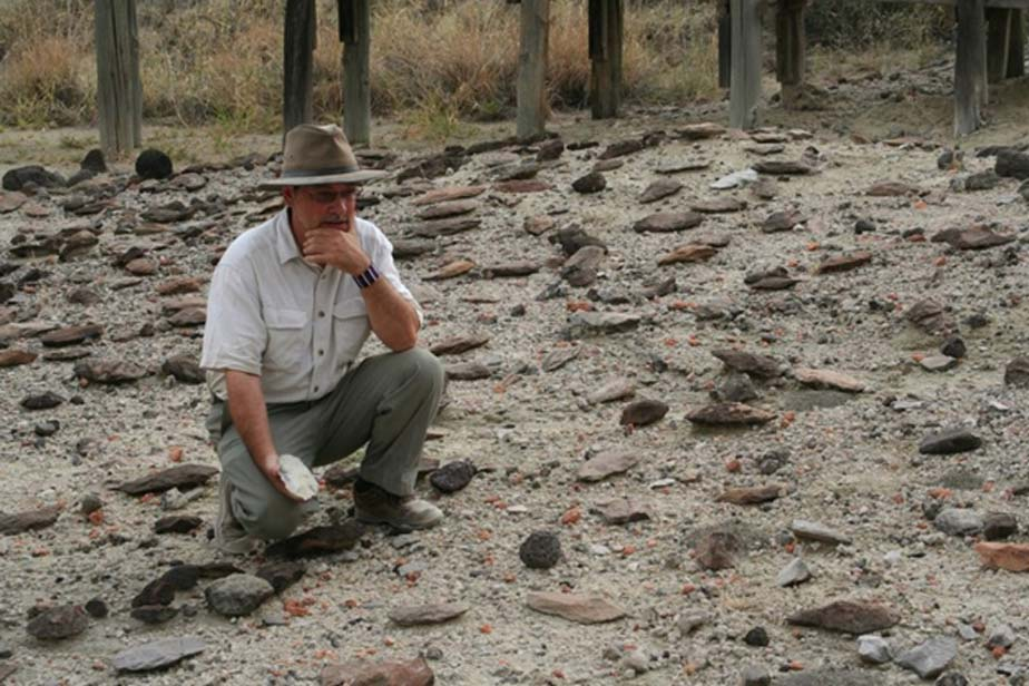 Rick Potts, director of the National Museum of Natural History's Human Origins Program at the Smithsonian, surveys an assortment of Early Stone Age hand-axes discovered in the Olorgesailie Basin, Kenya.