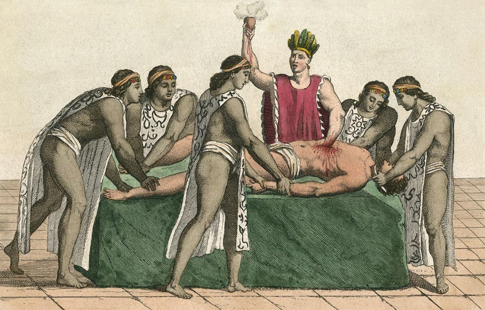 Priest in Tenochtitlan Plucks the Heart from Human Sacrifice. Date: circa 1500. Credit:  Archivist / Adobe Stock