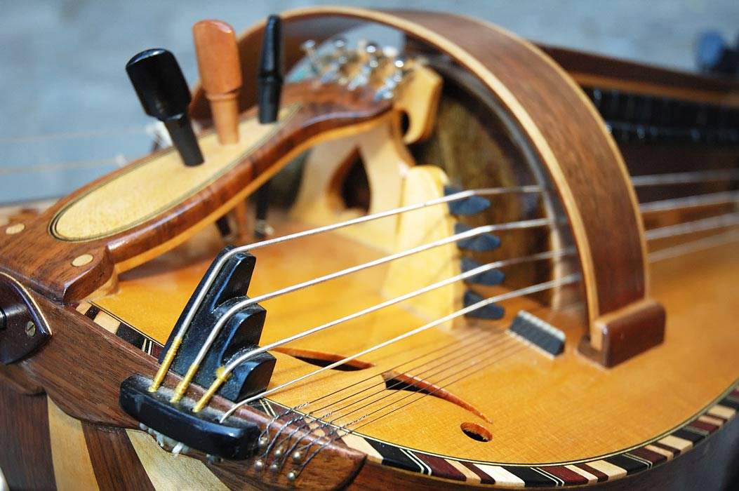 Detail of a hurdy gurdy
