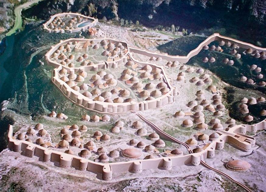 A model of the prehistoric town of Los Millares, with its walls. Andalucia, Spain