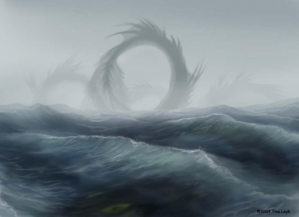 Illustration of a sea serpent. Credit: Tina Leyk / deviantart