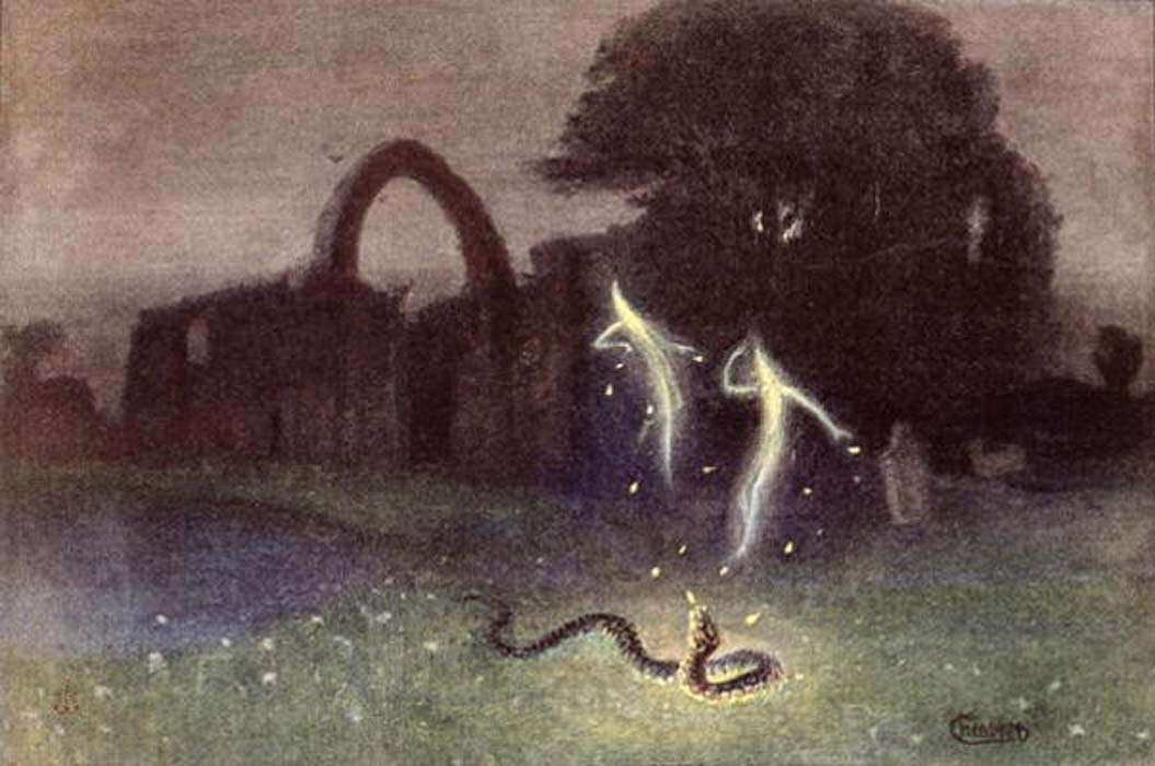 'Will-o-the-wisp and snake' by Hermann Hendrich.