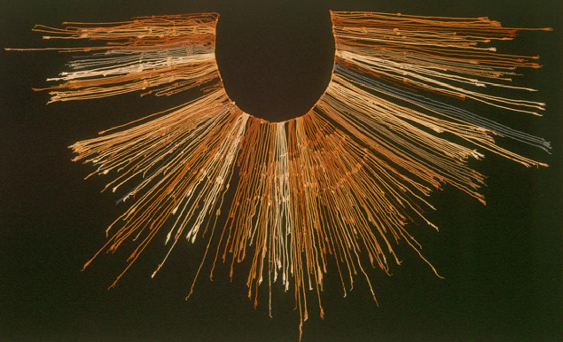 An Inca quipu, from the Larco Museum in Lima, Peru.