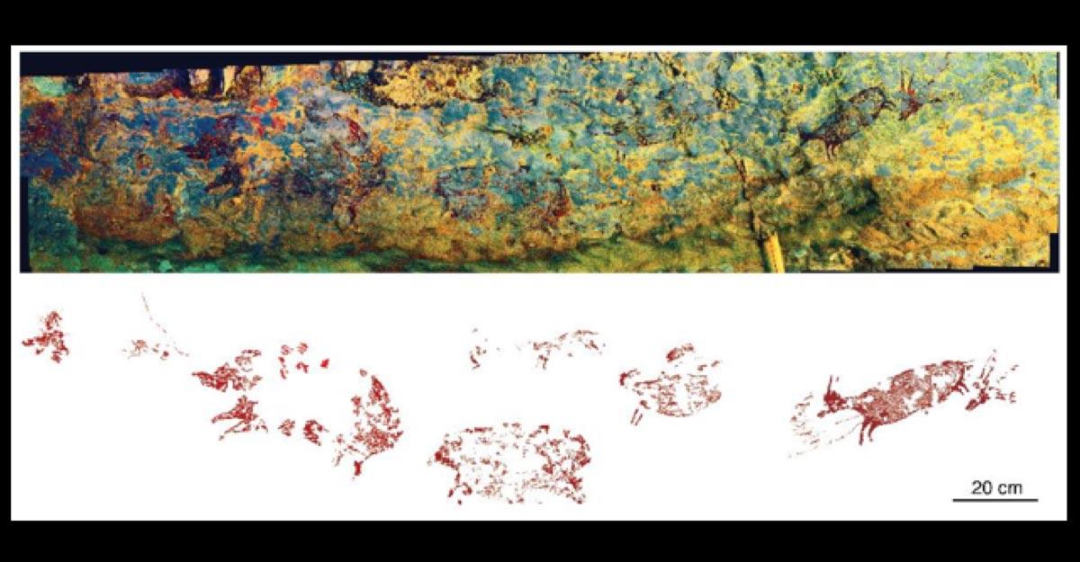 The Indonesian cave art hunting scene panorama. Source: Credit: Adam Brumm, Agus Oktaviana