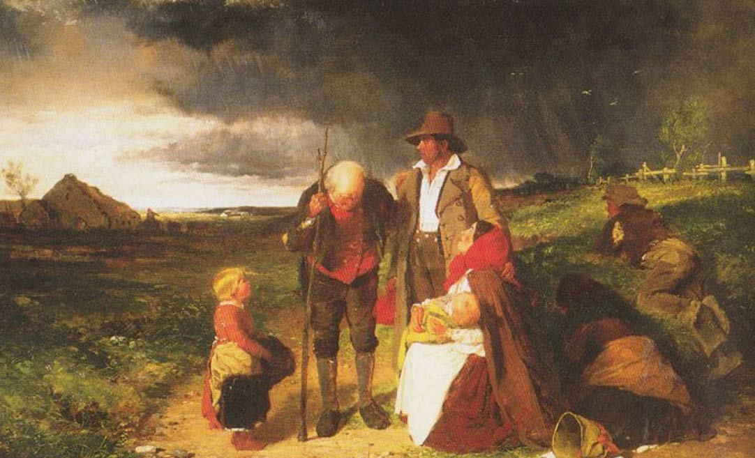 A painting depicting the Irish potato famine