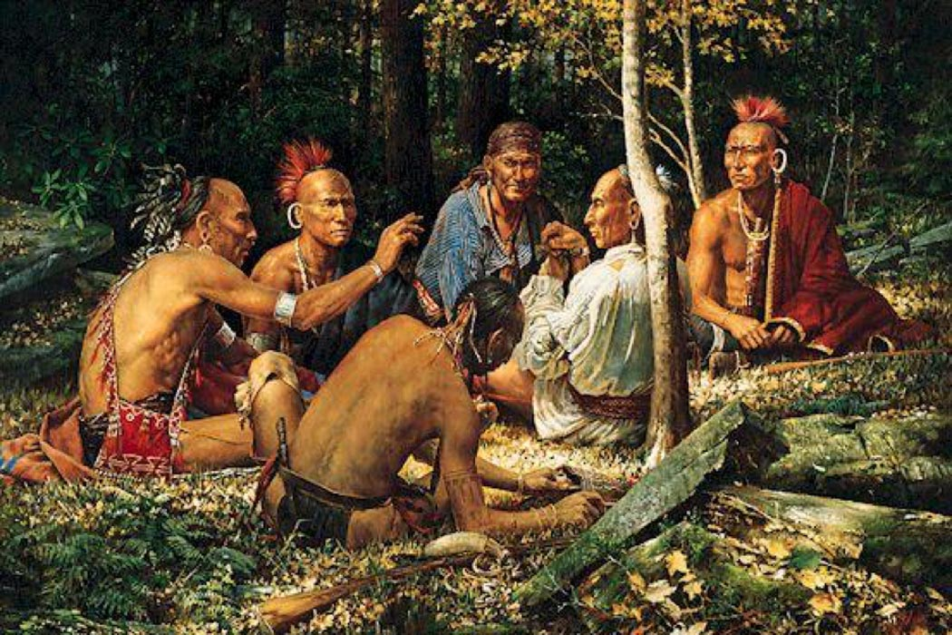 'The Storyteller' by L.F. Tantillo depicting Haudenosaunee (Iroquois Confederacy) people.