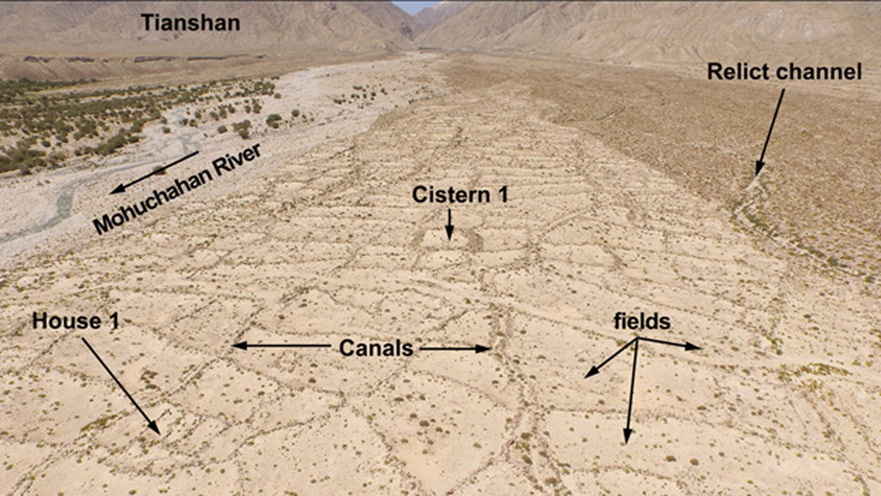 Aerial view of an ancient irrigation system discovered in the foothills of Xinjiang, China.