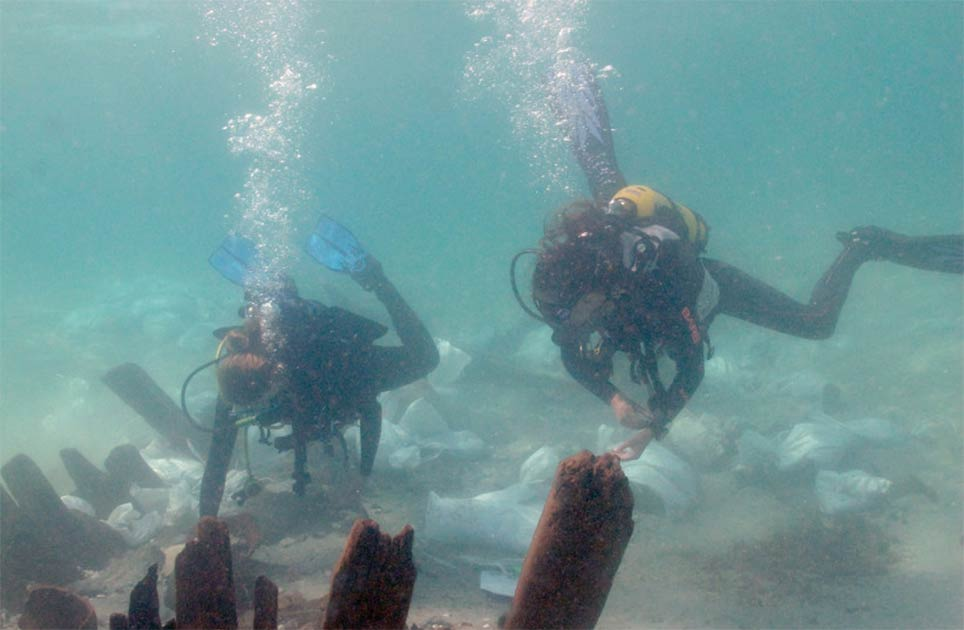 Marine archaeology students examine the pottery near the bulkhead at the Israeli shipwreck. Source: A. Yurman/Leon Recanati, Institute for Maritime Studies of the University of Haifa