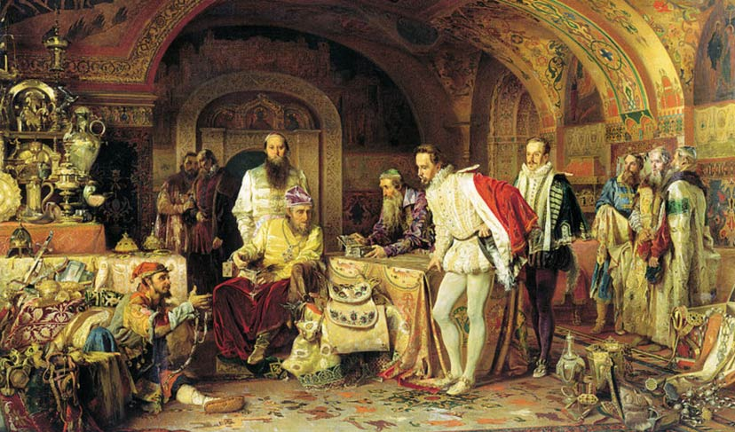 "Ivan IV of Russia (""Ivan the Terrible"") demonstrates his treasures to the ambassador of Queen Elizabeth I of England"