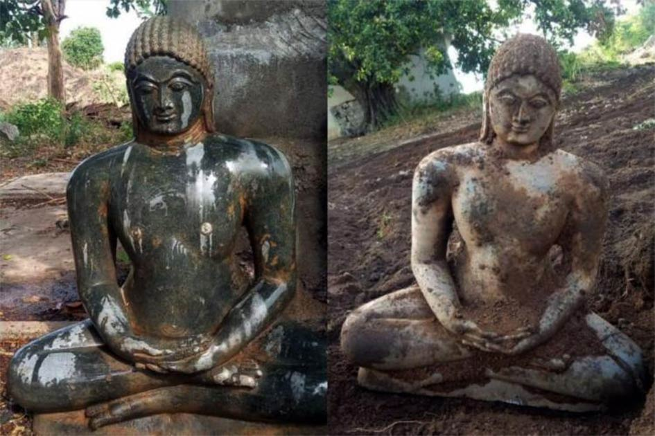 Ancient Jain sculpture was discovered unexpectedly by a farmer ploughing his field in Telangana.       Source: The News Minute