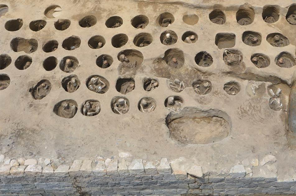 Circular graves discovered in the southern part of the Umedahaka Japanese burial ground in Osaka's Kita Ward.