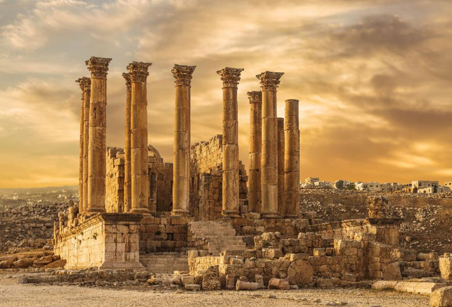 Temple of Artemis in the ancient Roman city of Gerasa at the sunset, preset-day Jerash, Jordan. Source: vesta48 /Adobe Stock