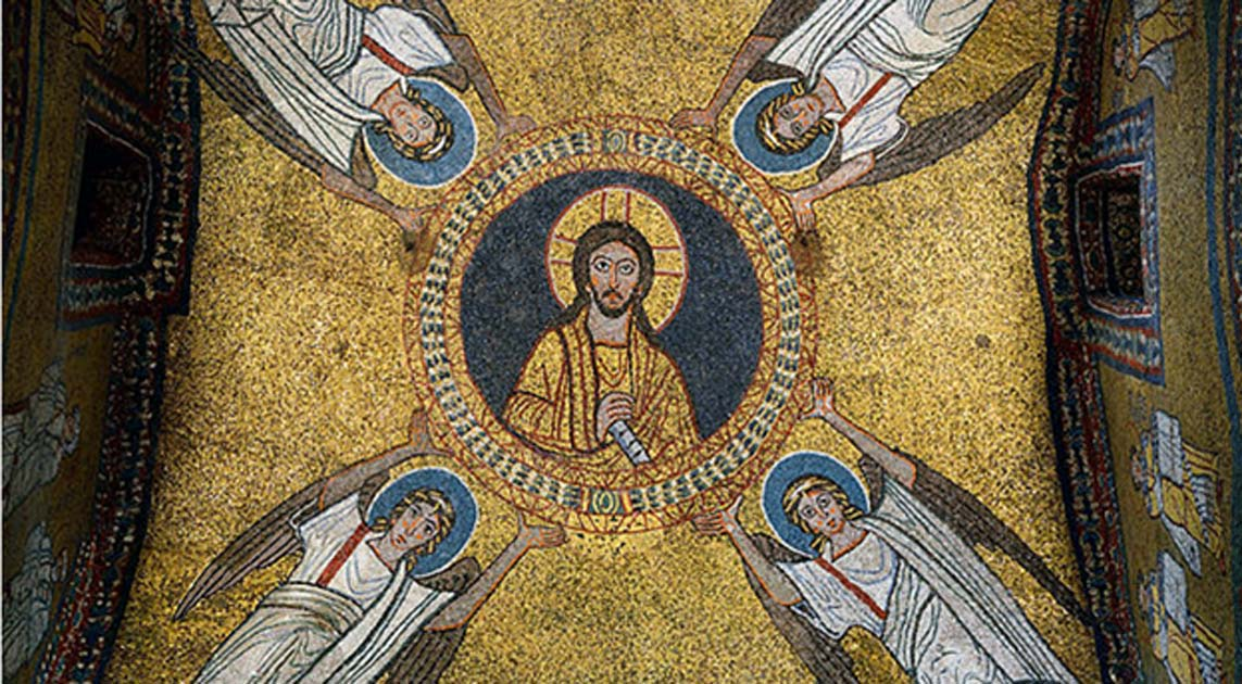 Mosaic of the vault of the chapel of San Zeno (IX century).