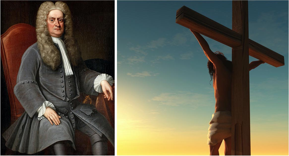 There is much debate between scholars to Jesus' crucifixion date, but there is no real consensus. Is there anyway of us knowing the truth? Left: portrait of Sir Isaac Newton. (Public domain).     Right: representation of Jesus' crucifixion. (Kovalenko I / Adobe stock)