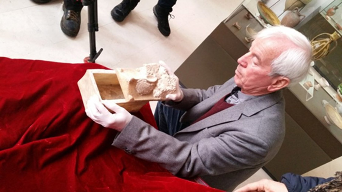 Professor Kasimir Popkonstantinov and the marble reliquary that potentially held John the Baptist's bones.