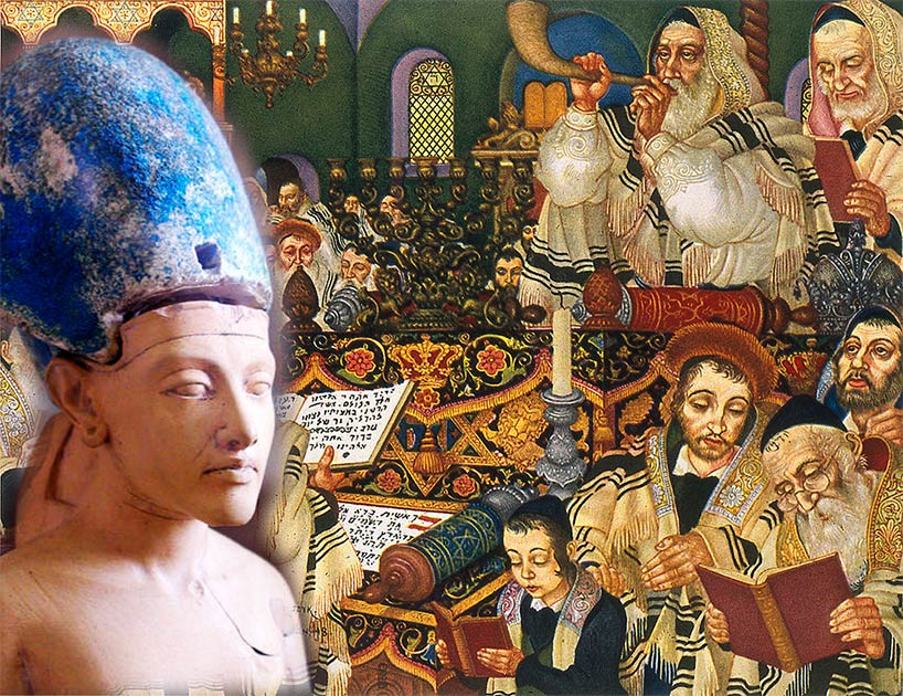 Could the origins of Jewish New Year really lie in the coronation of Akhenaten? Source: On the left Jon Bodsworth. Background image Arthur Szyk / CC BY-SA 4.0