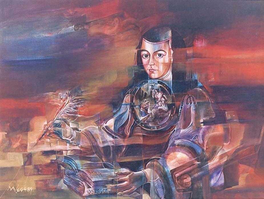 Juana Ines de la Cruz Painting by Mauricio García Vega.