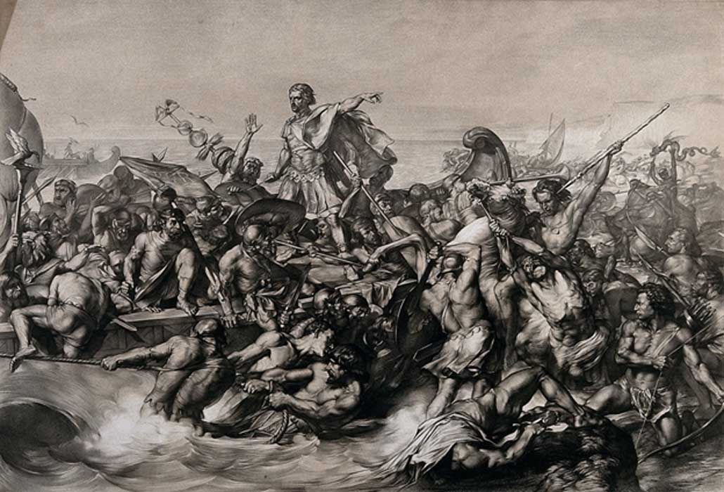 Caesar's first invasion of Britain: Caesar's boat is pulled to the shore while his soldiers fight the resisting indigenous warriors. Lithograph by W. Linnell after E. Armitage.