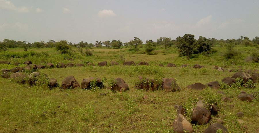 One of the Junapani stone circles in Maharashtra, India, which are now increasingly viewed as astronomically aligned burial sites.                   Source: Ganesh Dhamodkar, CC BY-SA 3.0