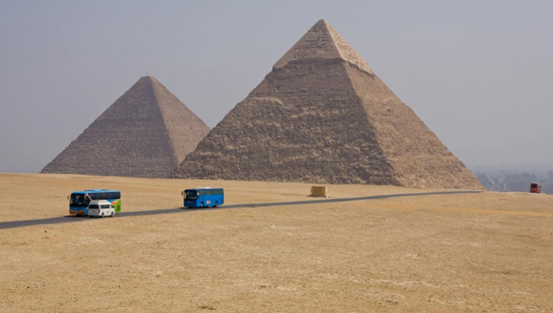 Khafra and Cheops pyramids in Giza, Egypt