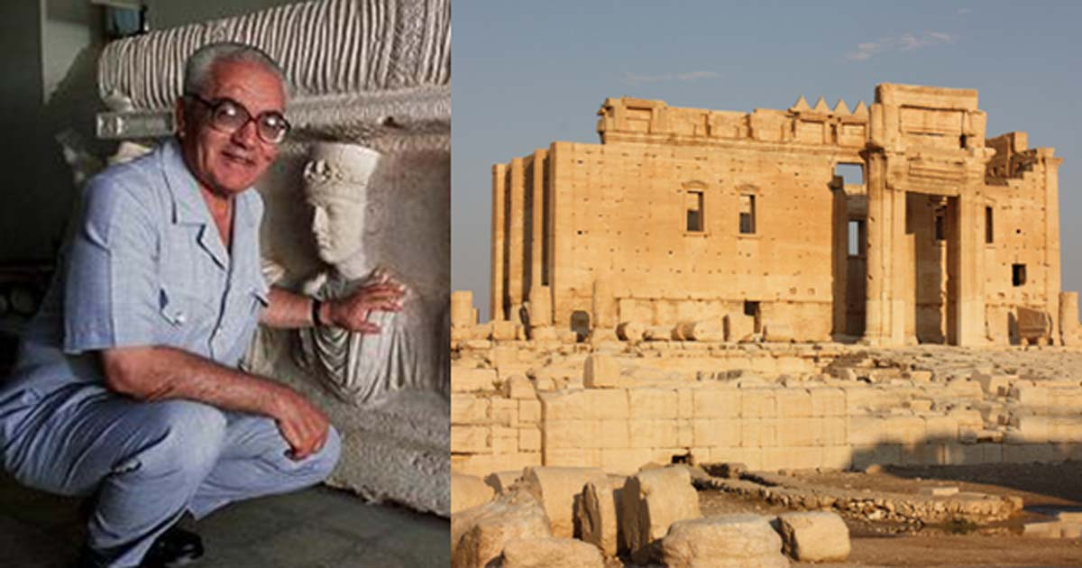 Syrian archaeologist Khaled al-Asaad. (Fair Use) Palmyra, Temple of Bel. (Arian Zwegers/CC BY 2.0)