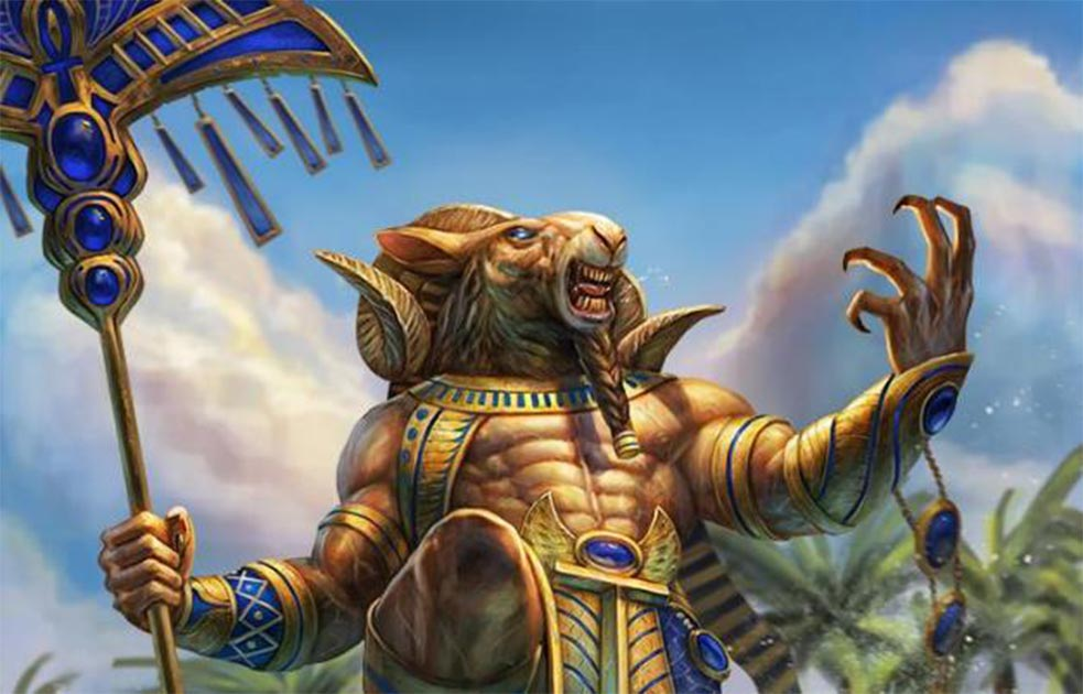 Detail of Khnum, the ram-headed ancient Egyptian god. Source: PTimm/Deviantart