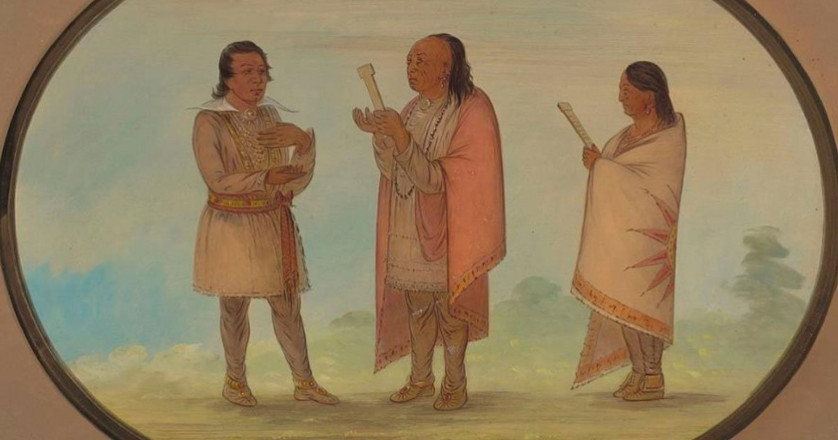 George Catlin's 1860s painting of men of the Kickapoo Nation preaching and praying.
