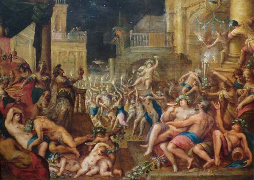 King Midas's Feast in Honor of Bacchus and Silenus.