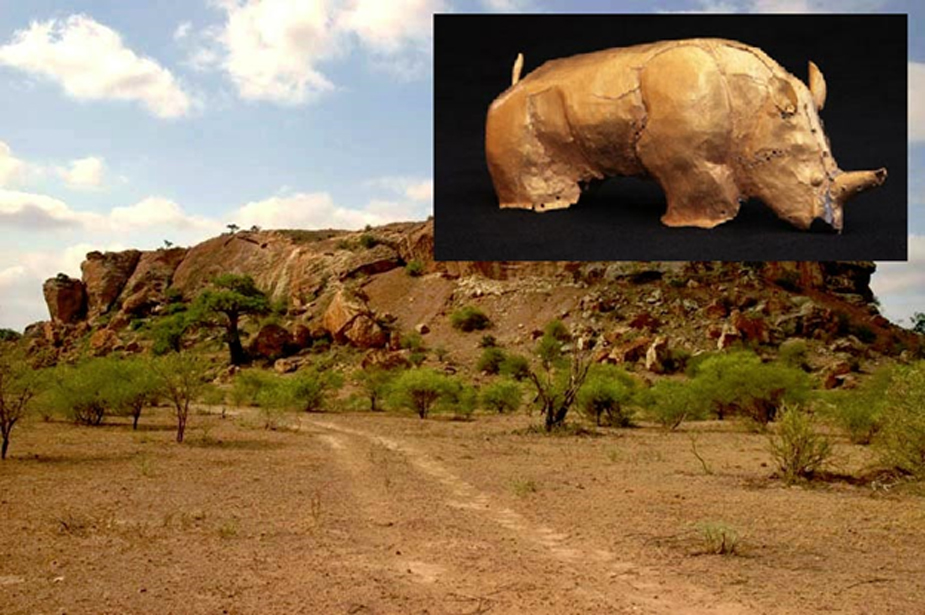 Mapungubwe Hill viewed from the north, The gold rhino of Mapungubwe.