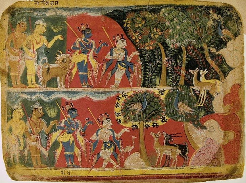 """Krishna and Balarama Taking the Cattle to Graze"" from a Bhagavata Purana Manuscript (1520-1540), Museum Rietberg, Zurich"