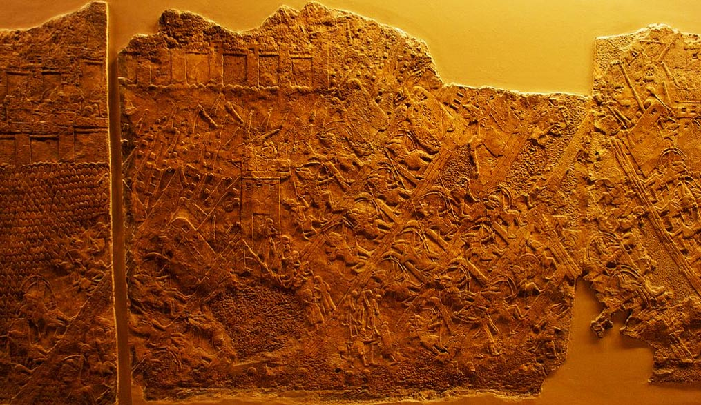 One of the panels from the Lachish Reliefs depicting the Assyrian assault on Lachish.
