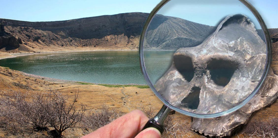 Deriv; Lake Turkana - Central Island - Flamingo Lake (CC BY-SA 3.0), aranthropus aethiopicus fossil hominid found at Lake Turkan