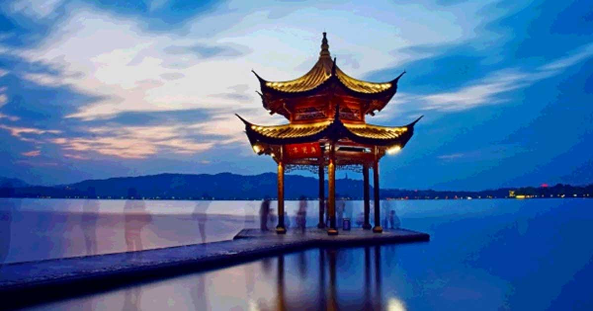 Chinese temple on a lake