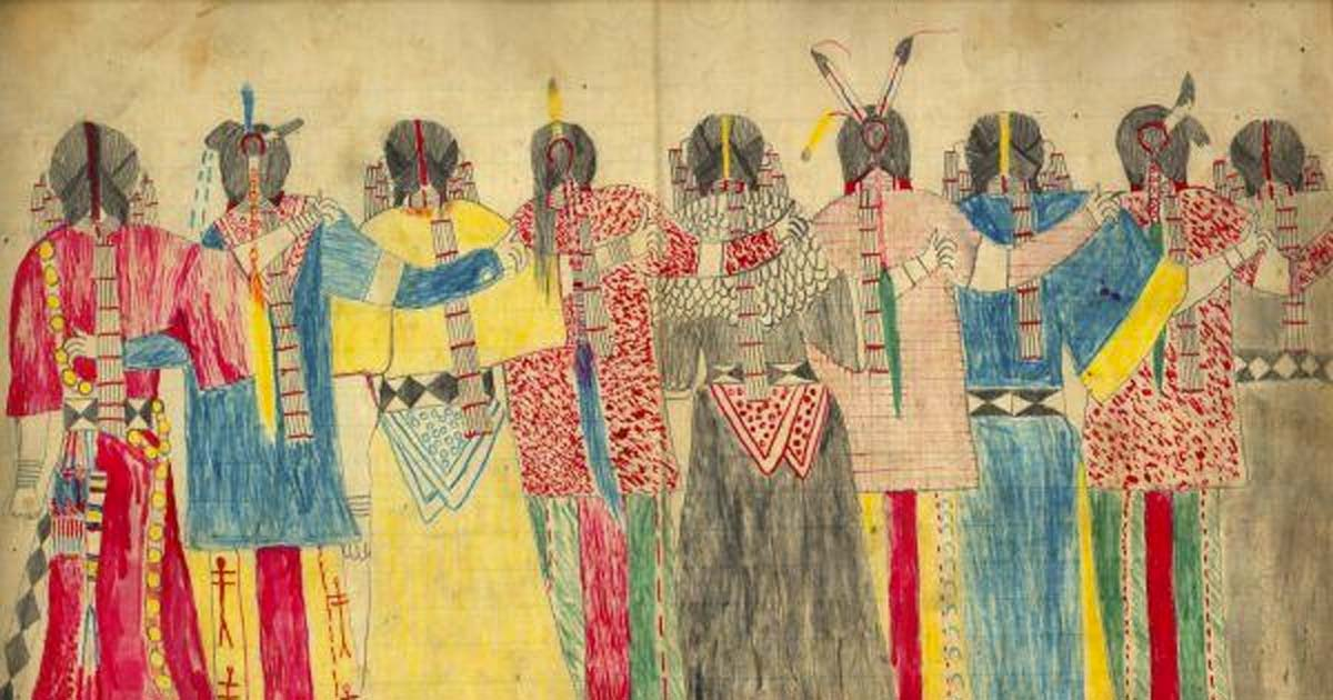 This is an untitled ledger drawing in pencil and colored pencil by a Lakota tribe artist and leader named Black Hawk, born ca. 1832. This work also appears in Janet Catherine Berlo's 'Spirit Beings and Sun Dancers: Black Hawk's Vision of the Lakota World.'