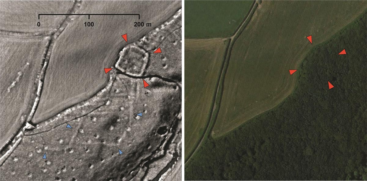 A probable Iron Age or Roman enclosed settlement (red arrows) and associated field system (blue arrows) revealed by LiDAR data but hidden today beneath woodland.       Source: University of Exeter