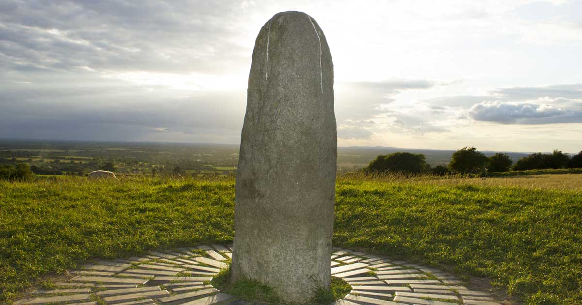 The Lia Fáil on the Hill of Tara. It is also known as the Coronation Stone for the ancient High Kings of Ireland.