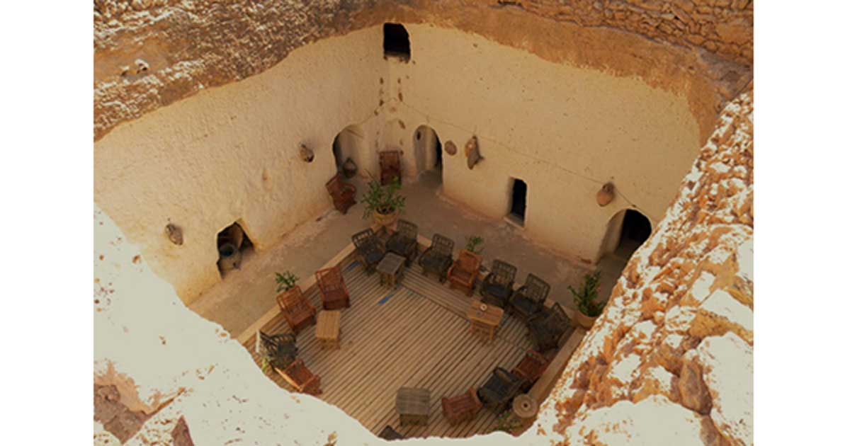 A photo of a troglodyte cave house in Gharyan, Libya.