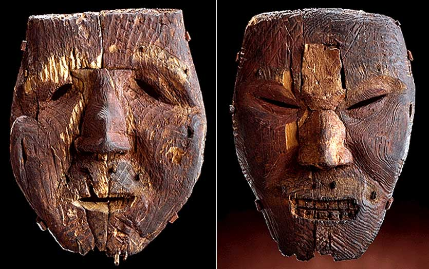 Life-size Dorset masks. (500-1000 AD) The masks were carved from driftwood and painted. They also once had fur moustaches and eyebrows attached with pegs. Scholars believe that the masks were probably used by shamans in rituals to cure illness, control the weather, or to aid in hunts.
