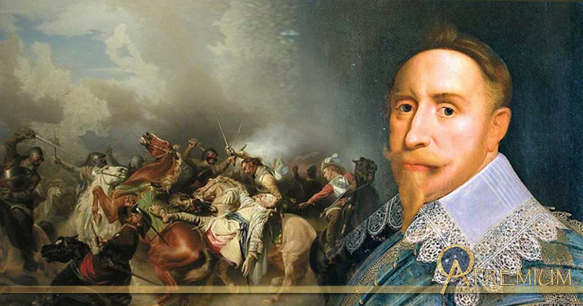 : Deriv; Portrait of Gustav II of Sweden and his death on November 6, 1632.