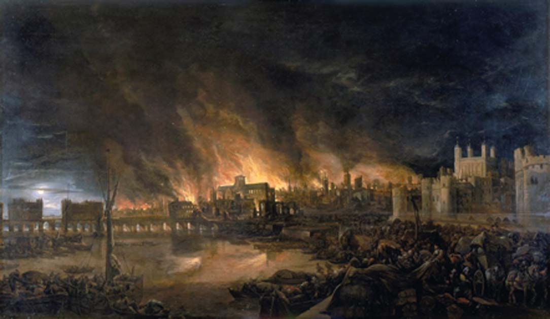 The Great Fire of London on the evening of Tuesday, 4 September 1666. To the left is London Bridge; to the right, the Tower of London. St. Paul's Cathedral is in the distance, surrounded by the tallest flames. Source: BevinKacon / Public Domain.