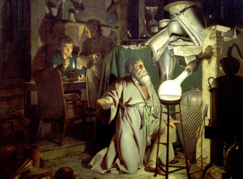 The Alchymist, in Search of the Philosopher's Stone by Joseph Wright of Derby, 1771.