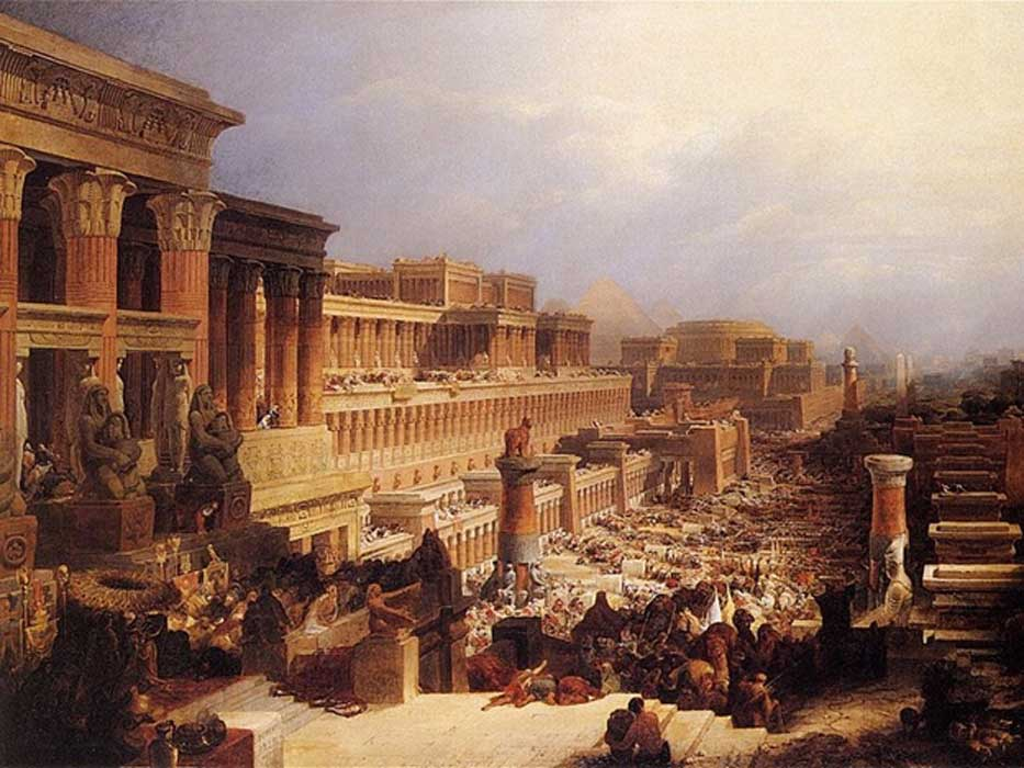 The Israelites Leaving Egypt by David Roberts. Representative of an ancient Egyptian City.