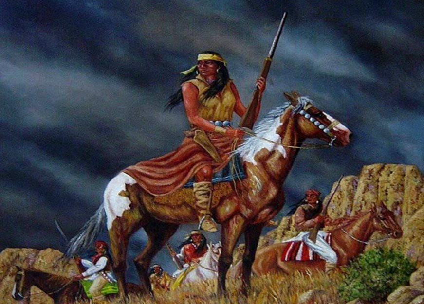 A painting said to be of Lozen on display at the International Native American Memorial in Saint Augustine, Florida.