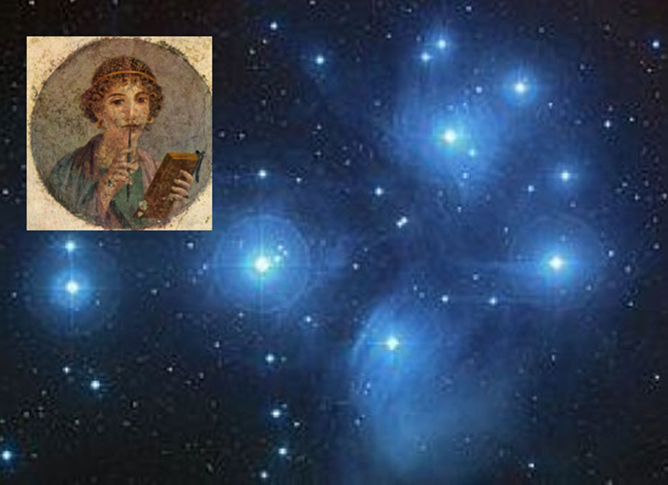 A color composite image of the Pleiades from the Digitized Sky Survey. Credit: NASA/ESA/AURA/Caltech. Inset: Sappho fresco